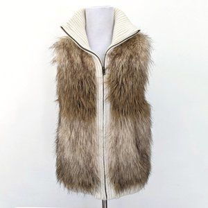 Justice Faux Fur Knit Brown Cream Shimmery Vest
